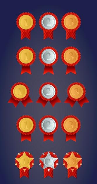 Defina medalhas de medalhas de ouro, prata e bronze de campeão Vetor Premium