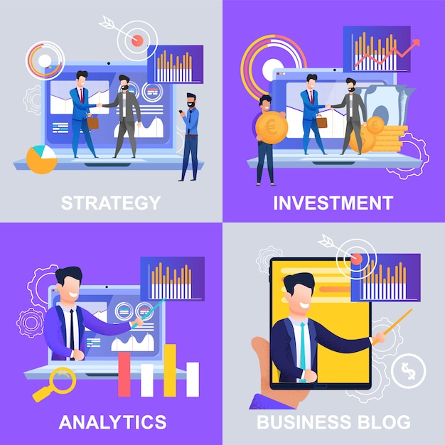 Defina o blog de negócios de investimentos do strategy analytics. ilustração Vetor Premium