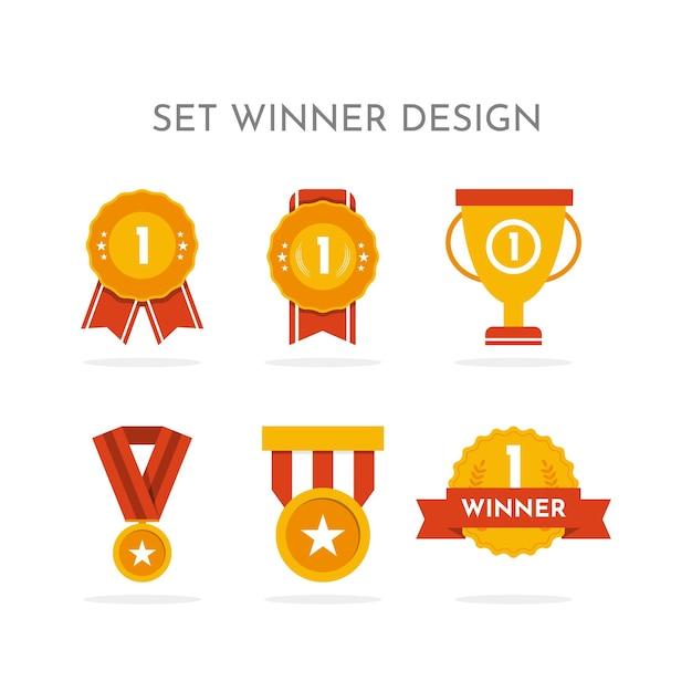 Defina o design da coleção do vencedor. Vetor Premium