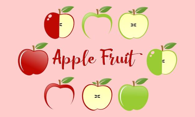 Defina o logotipo da fruta das maçãs Vetor Premium