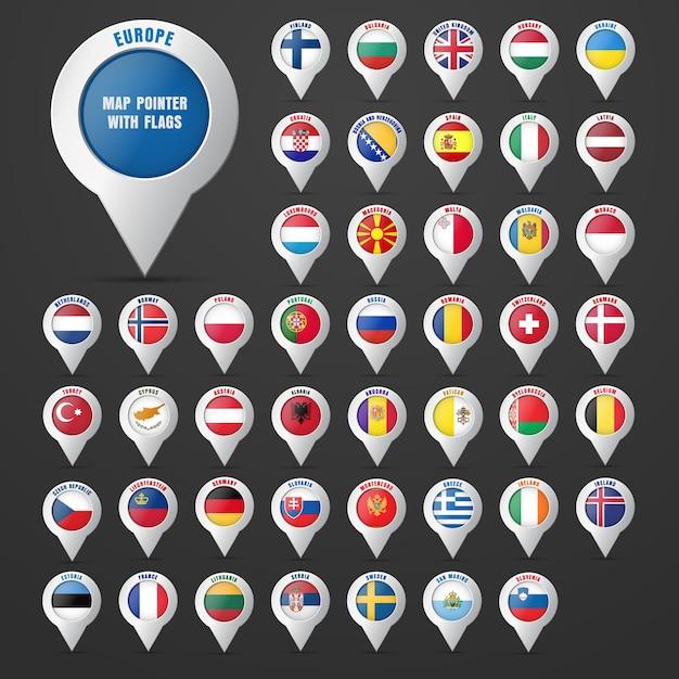 Defina o ponteiro para o mapa com a bandeira do país e seu nome. continente europeu. Vetor Premium