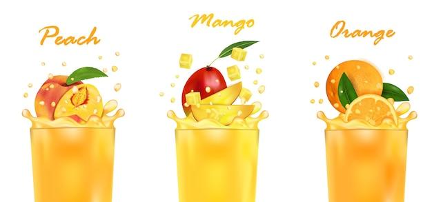 Defina suco fresco de manga, laranja, pêssego e respingo. doce fruta tropical 3d realista, isolado no fundo branco. desenho de embalagem ou pôster, publicidade. Vetor Premium