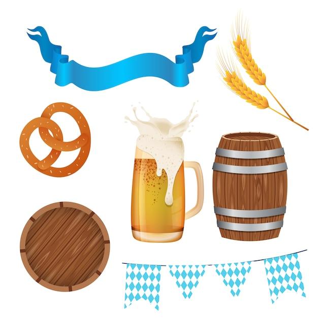 Define a oktoberfest. ilustração com elementos da oktoberfest Vetor Premium