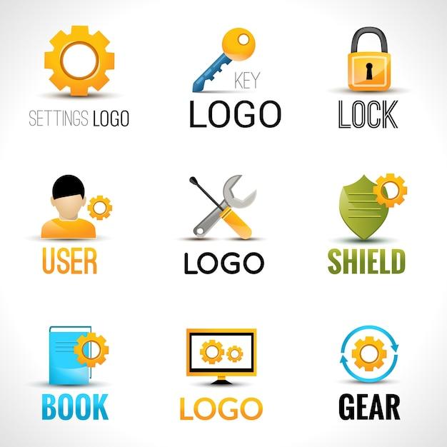 Definições conjunto de logotipos Vetor grátis