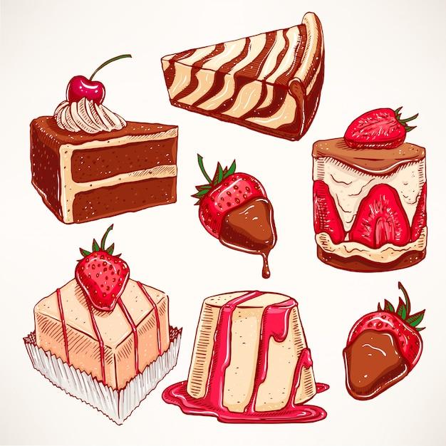 Definido com uma variedade de sobremesas apetitosas fofas. ilustração desenhada à mão Vetor Premium