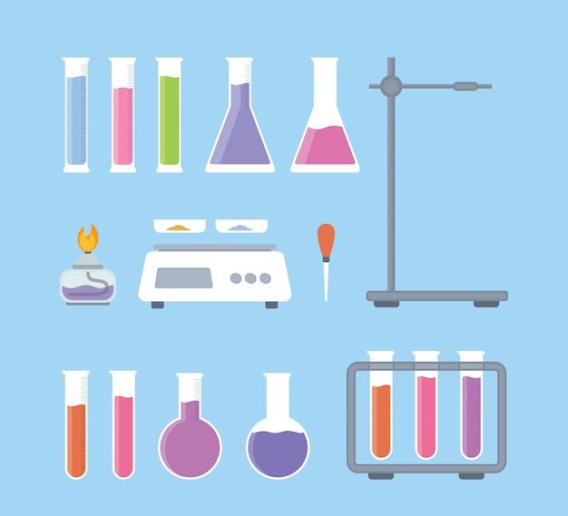 Definir a coleção de ferramentas de ciência de laboratório com várias formas Vetor Premium