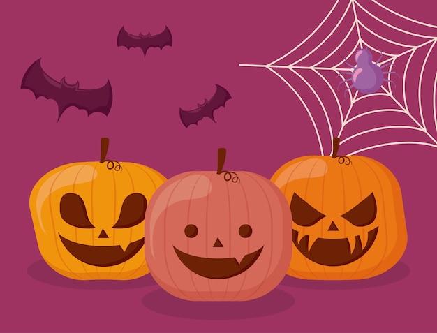 Definir abóboras halloween com aranha e morcegos Vetor grátis