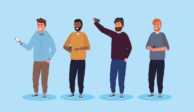 Definir amigos homens com tecnologia penteado e smartphone Vetor Premium