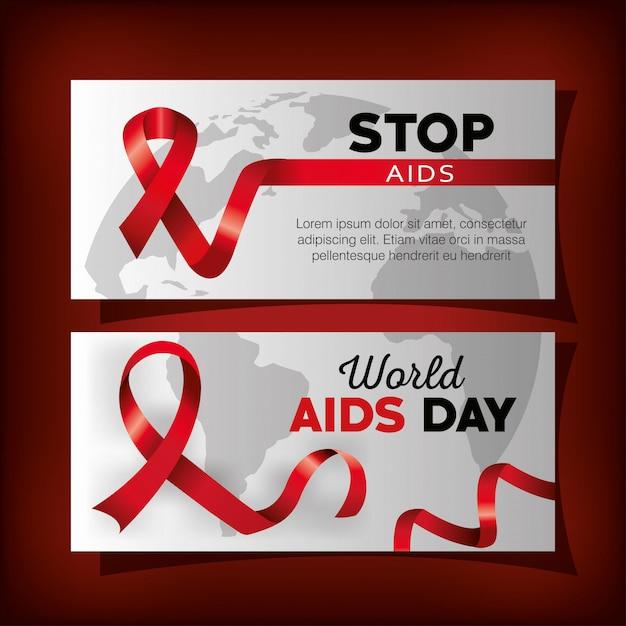 Definir banner com dia mundial da aids e fita Vetor grátis