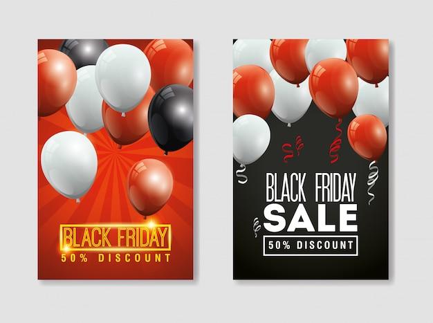 Definir banner preto sexta-feira com decoração de hélio de balões Vetor grátis