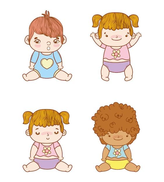 Definir bebês especiais com penteado e fralda Vetor Premium