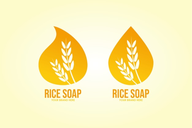 Definir beleza de sabão de arroz de logotipo Vetor Premium