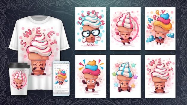 Definir cartaz de sorvete e merchandising. Vetor Premium