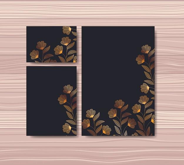 Definir cartões de convites com decoração floral Vetor grátis