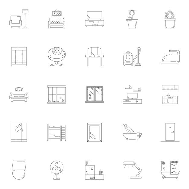 Definir casa espera ícone de contorno de vetor Vetor Premium
