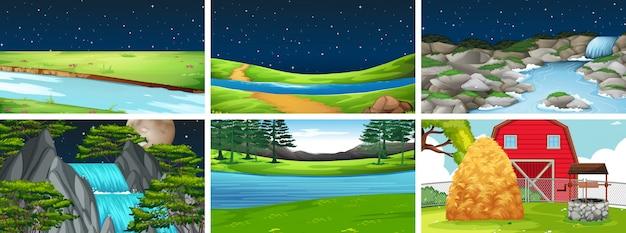 Definir cena da paisagem da natureza Vetor grátis