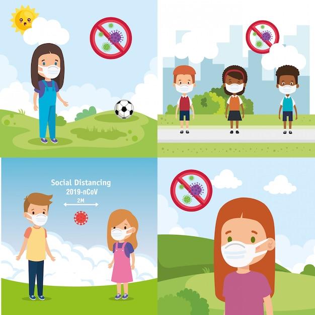 Definir cenas de crianças usando design de ilustração de máscara facial Vetor grátis