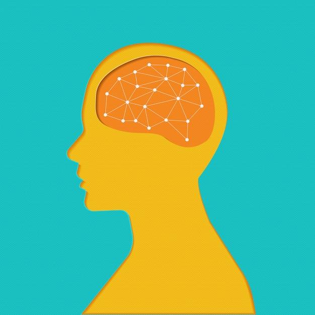 Definir cérebros de ícone. conceito. linha fina e combinar a forma com o objeto do cérebro. Vetor Premium