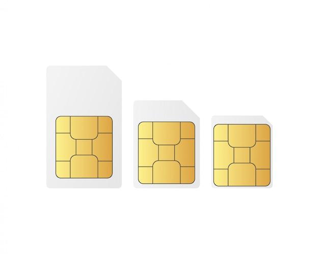 Definir chips de cartão sim standart, nano e micro sim. Vetor Premium