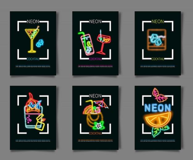Definir coctail e beber sinal de néon Vetor Premium
