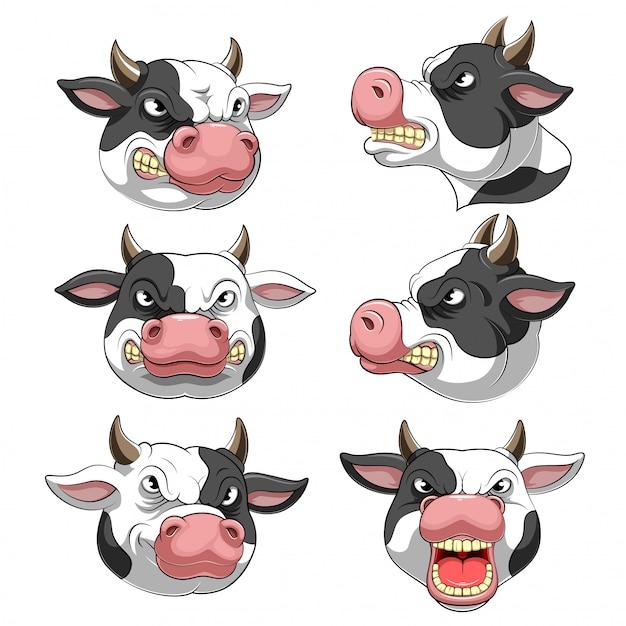 Definir coleção de cabeça de mascote de uma vaca Vetor Premium