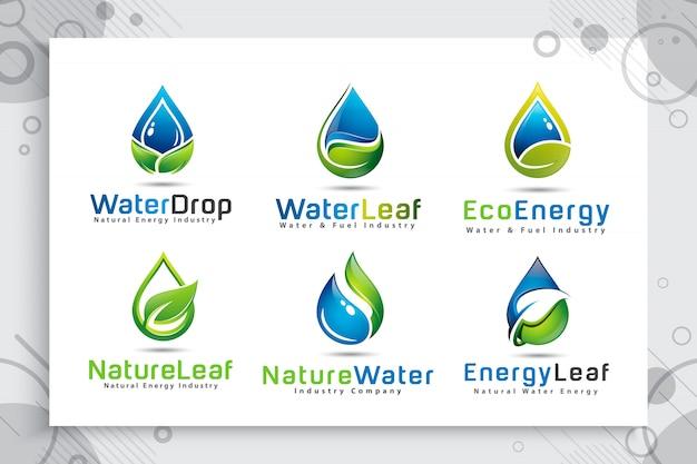 Definir coleção de logotipo de gota de água com o conceito moderno de cores. Vetor Premium