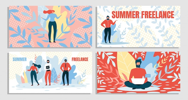 Definir combinação verão e freelance, Vetor Premium
