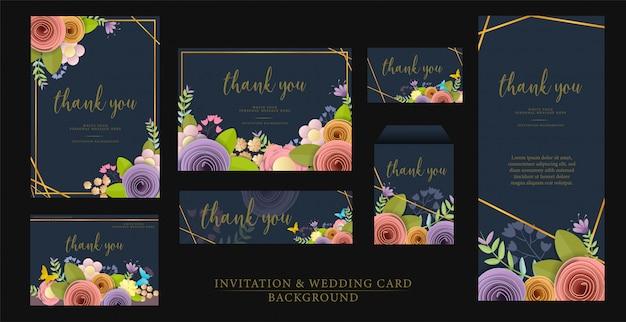 Definir convite design de cartão de casamento. Vetor Premium