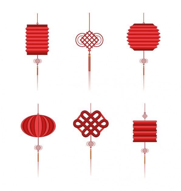 Definir decoração de tradição de lâmpadas chinesas Vetor Premium