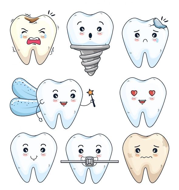 Definir dentes tratamento e higiene com prótese Vetor grátis