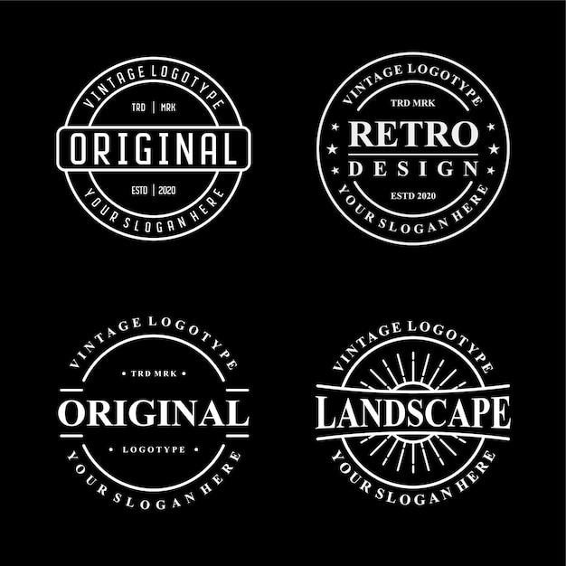 Definir design de logotipo vintage Vetor Premium
