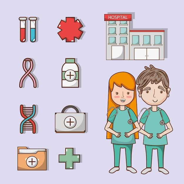 Definir diagnóstico de tratamento de utensílios médicos Vetor Premium