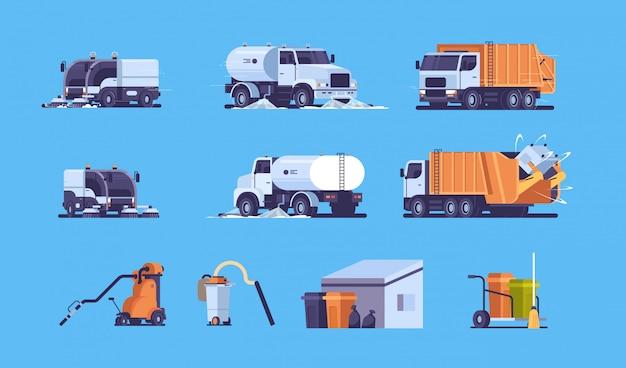 Definir diferentes equipamentos e transporte pesado industrial Vetor Premium