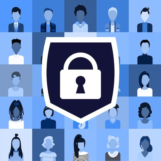 Definir diferentes homens mulheres usuários avatares e perfis privacidade proteção de dados acesso conceito coisas funcionários empresa clientes coleção escudo com cadeado Vetor Premium