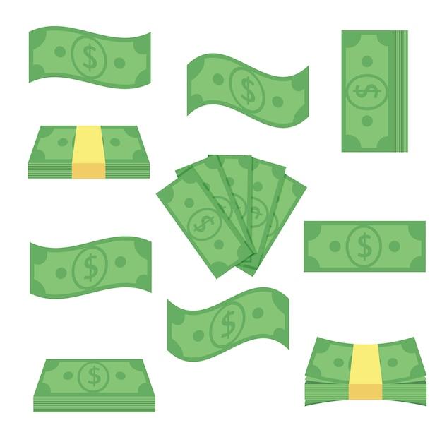 Definir dinheiro de notas diferentes. empilhe as contas, financie o dinheiro do montão - ilustração lisa. objetos de moeda isolados em um fundo branco Vetor Premium