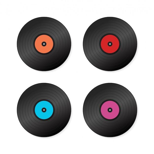 Definir disco de vinil realista com capa Vetor Premium