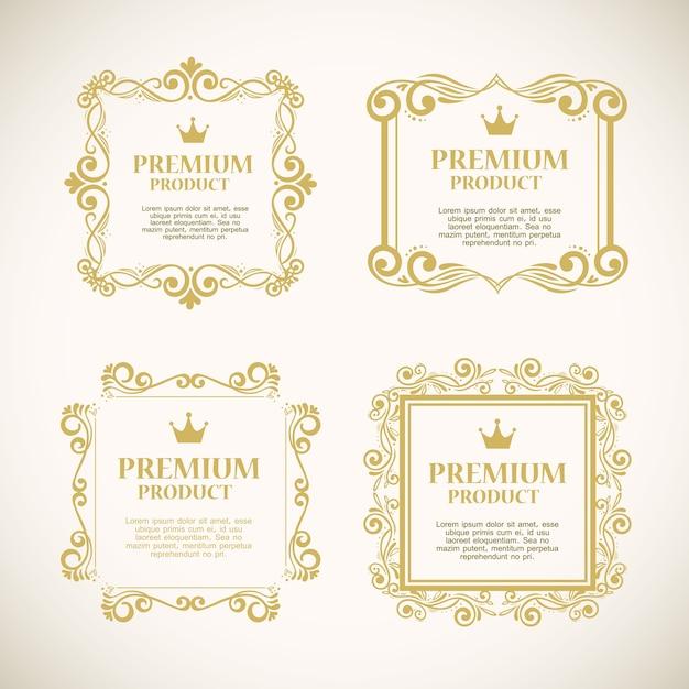 Definir etiquetas com molduras decorativas douradas Vetor Premium