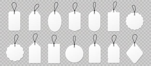 Definir etiquetas de preço de papel branco em branco ou etiquetas de presente. Vetor Premium