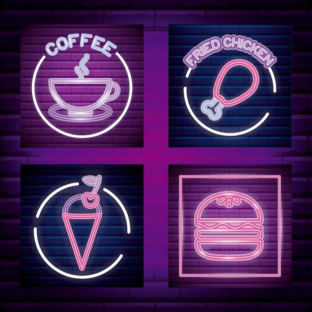 Definir fast food e bebida rótulo de luz neon Vetor Premium