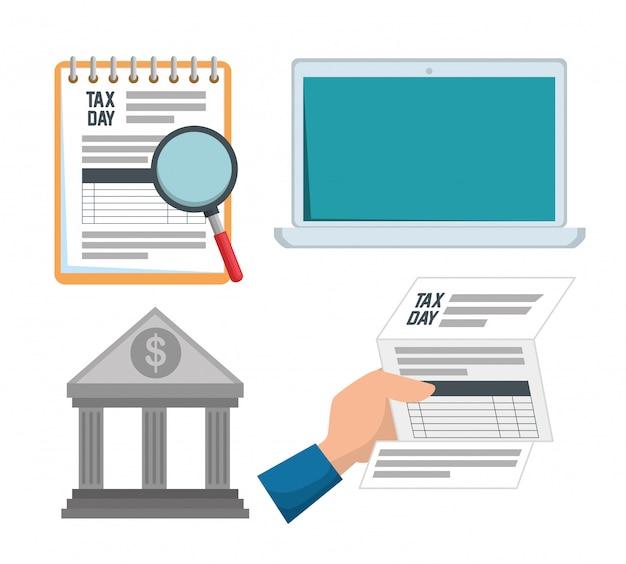 Definir fatura de imposto sobre serviços com relatório de laptop Vetor grátis