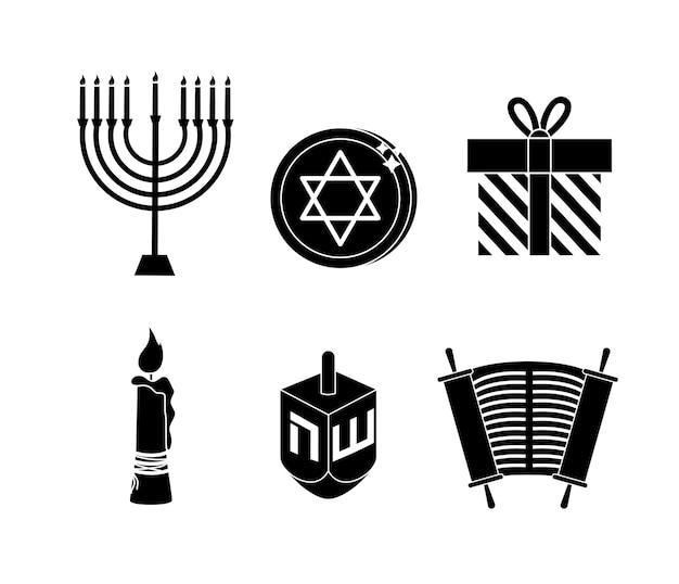 Definir feliz decoração de hanukkah para celebração tradicional Vetor Premium