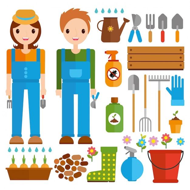 Definir ferramentas para jardinagem Vetor grátis