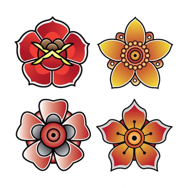 Definir Flor Tatuagem Old School Vetor Premium