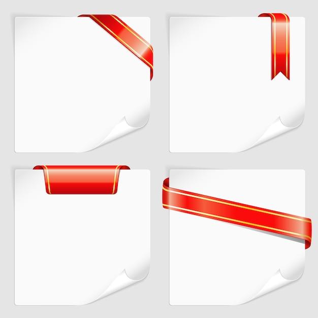 Definir folhas brancas de papel com fitas Vetor Premium