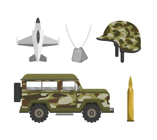 Definir forças do exército militar patriótico Vetor Premium