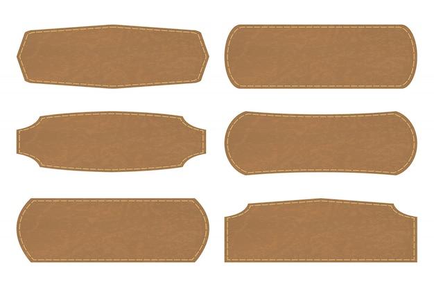 Definir formas de rótulos de sinal de couro ou etiqueta de couro Vetor Premium