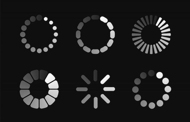 Definir ícone de carregamento. barra de progresso para o processo de rodada de download de upload. Vetor Premium