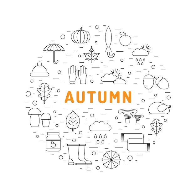 Definir ícone de outono Vetor Premium