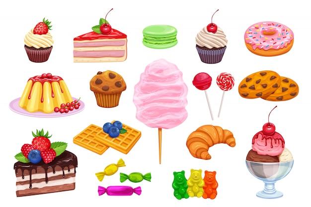 Definir ícones de confeitaria e doces Vetor Premium
