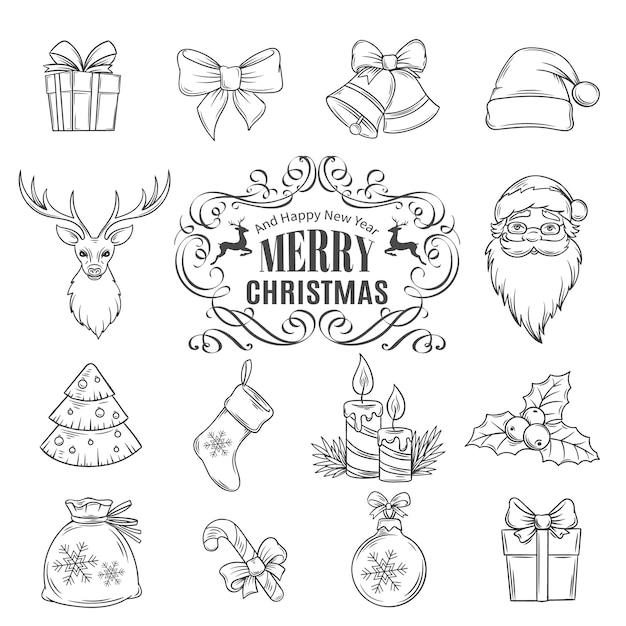Definir ícones de mão desenhada de natal. Vetor Premium